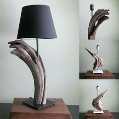 This beautiful driftwood table lamp, brings the beach inside with its unique and modern design. The lamp itself features beautifully entwined driftwood sculpture. The lamp has flat black metallic…More 0 3 7 6 5 Driftwood Table, Driftwood Projects, Driftwood Sculpture, Driftwood Ideas, Driftwood Beach, Driftwood Furniture, Wooden Lamp, Wooden Diy, Farmhouse Lamps