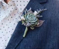 A succulent #boutonniere would be a great accent on a wedding day. They are fresh and airy, a great reminder of Spring. Take it to the next level and pair it with dried flowers.