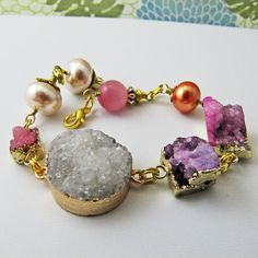 Excited to share the latest addition to my #etsy shop: Rock Candy Bracelet, Miami, raw stone bracelet, festival jewelry, boho jewelry, raw stone jewelry, druzy bracelet by reynared http://etsy.me/2Ev00p1 #jewelry #bracelet #druzy #rawstone