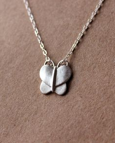 Fine Silver Butterfly Necklace - Handcrafted Silver Jewelry - Silver Butterfly - Fine Jewelry by GnJStudio on Etsy