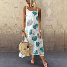 Purchase Summer New Women's Fashion Sexy Suspender Leaf Print Loose Dress dress 177 from Yuanzala on OpenSky. Share and compare all Apparel. Vetement Fashion, Vestido Casual, Mini Dress With Sleeves, Summer Dresses For Women, Dress Brands, Casual Dresses, Maxi Dresses, Sleeveless Dresses, Casual Outfits