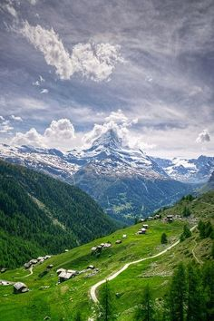 The famous Matterhorn is an iconic emblem of the Swiss Alps.
