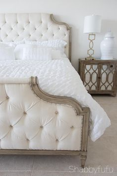 How To Give A Bedroom A Dose Of Sophistication  Tips for creating an elegant bedroom with French style inspiration.   beautiful beds I bedroom design I tufted headboards I french country @bernhardtinc