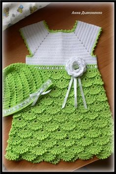 children crocheted dresses | ... and White Dress free crochet graph ... | Crochet clothes (child