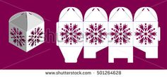 Christmas bonbonniere with snowflake. Laser cutting vector template. Openwork cube gift box.