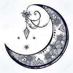 Un Complejo Entramado De Mano Dibujada Luna Creciente Adornado Con ...