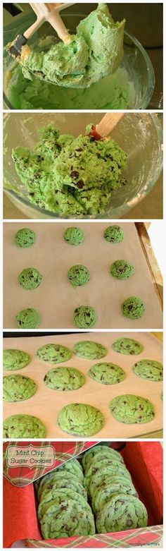 Mint Chip Sugar Cookies ~ Melt in your mouth sugar cookies filled with irresistible mint chips! Sure to please a crowd and thankfully are quicker than decorating traditional sugar cookies.