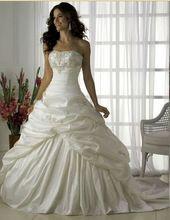 El envío gratuito colección 2014 A línea sin tirantes de tafetán novia vestido de boda con apliques(China (Mainland))