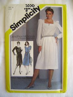 UNCUT 1981 Simplicity 5336 - Easy-Fit Dress with Notch Neck Sewing Pattern - Size 16 | eBay