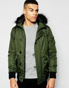 Shop D-Struct Nizkor Faux Fur Trimmed Bomber Jacket at ASOS. Asos, Coat Sale, Fur Trim, Military Jacket, Faux Fur, Rain Jacket, Windbreaker, Street Wear, Mens Fashion