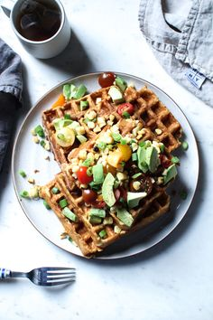 Savory cheddar and corn waffles with avocado #loveonetoday