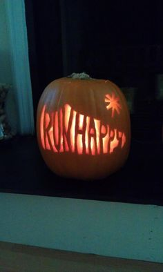 @Kelbelzel shares this Run Happy pumpkin.  I wish I had seen this before Halloween, and I would have carved it myself