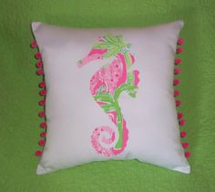 custom Seahorse Pillow made with Lilly Pulitzer Fabric $29.00