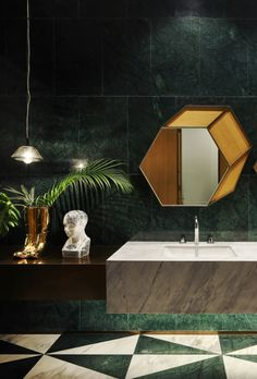 yuqiang + partners revamp HappyLand's sales office with origami-like façade Bathroom Smells, 18th Glass, Bathroom Images, Artistic Lighting, Lighted Bathroom Mirror, Vintage Bathroom, Glass Bathroom, Picture Design, Amazing Bathrooms