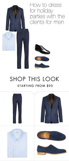 """How to dress for holiday parties with the clients-for men"" by pstrats on Polyvore featuring River Island, Armani Collezioni, Toast, Allen Edmonds, holiday and Dress4Success"