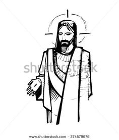 Hand drawn vector illustration or drawing of Jesus Christ at his Resurrection - stock vector