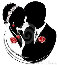 Illustration about Abstract romantic couple with hearts and roses. Illustration of symbol, tenderness, icon - 19501450 Wedding Anniversary Cards, Wedding Cards, Wedding Gifts, Wedding Day, Wedding Silhouette, Silhouette Images, Hearts And Roses, Red Roses, Digital Stamps