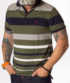 Ralph Lauren Tricou Polo Striped - Bleumarin - Verde | Tricouri polo | Polo | Brande Ralph Lauren Logo, Polo Shirt, Casual, Mens Tops, Shirts, Fashion, Moda, Polos, La Mode