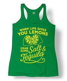 Look at this #zulilyfind! Green 'When Life Gives You Lemons' Racerback Tank #zulilyfinds