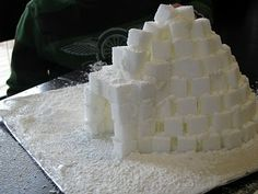 Sugar Cube Igloo.  Use frosting as glue.