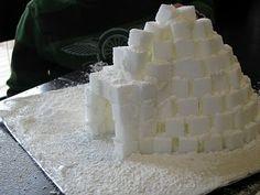 Sugar Cube Igloo.  Use frosting as glue.