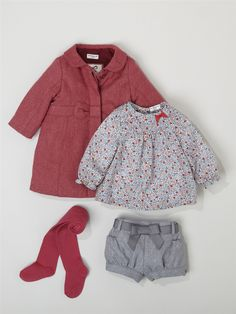 BABIES' HERRINGBONE COAT + BABIES' LIBERTY® SHIRT + BABIES' FLANNELETTE SHORTS + GIRL'S PLAIN TIGHTS -