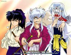 Inuyasha, Kagome, and Sesshomaru as Kenshin, Kaoru, and Sanosuke (I guess? Sesshy's just doing his own thing)