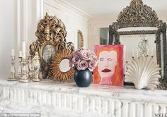 francois halard/images | On the dining room mantle, a collection of mirrors are displayed among ...