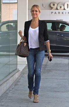 Simple white tee. Long necklace. Speedy. Blazer. Jeans. Strappy heels.