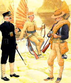 US Armed Forces in China 1900 - US Navy, Infantry and Artillery troopers in China, Boxer Rebellion Marine Corps Uniforms, Us Army Uniforms, Us Marine Corps, The Spanish American War, American History, Military Art, Military History, American Uniform, Boxer Rebellion