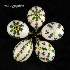 Pysanky Ukrainian Egg White Holly Christmas by JustEggsquisite