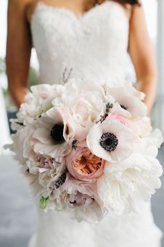 Beautiful wedding bouquet of anenomes, peonies, david austin roses and lavender - Wedding inspirations