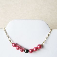 #Pink #Fuchsia #Pearl #Necklace by #pulpsushi on #Etsy #handmade #jewelry #women