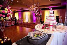 Austin Texas Event, Floral Pinspotting, Cake Pinspotting, Room Wash, Pink, Amber, Uplighting, Chandeliers, Drapery Lighting, Intelligent Lighting Design, ILD Lighting,