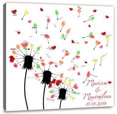 Hochzeitsspiele - Hochzeitsspiel - Fingerabdruck-Leinwand - Pusteblume