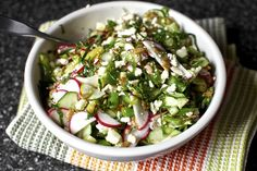 -Delicious- chop chop salad with feta, lime, mint. I used fennel, green beens, radish and pumpkin seeds.