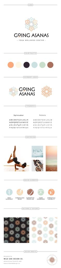 Brand Launch :: Brand Style Board :: Modern Yoga Studio Branding :: Going Asanas Design :: by Wild Side Design Co. - Brand Launch :: Brand Style Board :: Modern Yoga Studio Branding :: Going Asanas Design :: by Wild Side Design Co. Brand Identity Design, Corporate Design, Business Card Design, Branding Design, Business Cards, Business Ideas, Stationery Design, Corporate Identity, Design Packaging