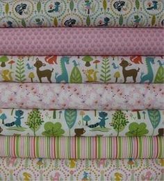 Sheri McCulley Studio, Woodland Tails, Pink in FAT QUARTERS 7 Total