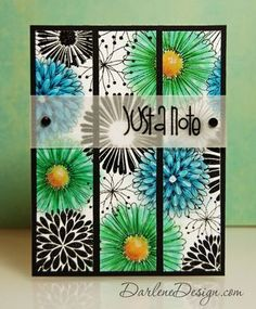 handmade card ... luv the dramatic look of the big flower background stamp from Hero Arts ...selected flowers colored with Gelatos in green and blue white the rest are left as black line art ... main panel cut into three colums and attached to black background ... vellum band stamped with sentiment and attached with brads ...
