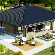 Z344 to wyjątkowy dom z kategorii projekty domów do 120 m2 Affordable House Plans, New House Plans, Design Case, New Homes, Backyard, Construction, Small Houses, Garden, Outdoor Decor