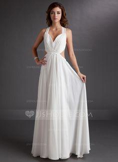 A-Line/Princess Sweetheart Floor-Length Chiffon Evening Dress With Ruffle (017016725)