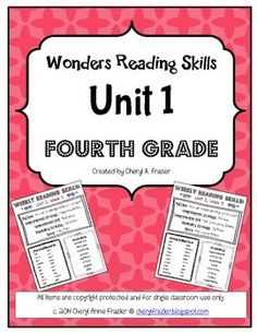 Wonders Reading Unit 1 Skill, Vocab, and Spelling List (4th Grade)
