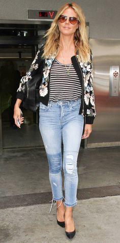 Heidi Klum - floral bomber jacket + striped shirt + jeans