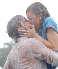 The Notebook - romantic kiss in the rain