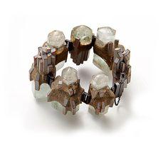Terhi Tolvanen Bracelet: Skyline 2012 Silver, aquamarine, cherry wood, cement, paint Ø 9cm