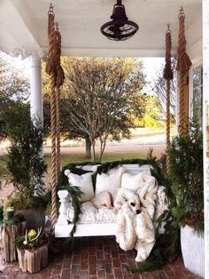 Awesome 41 Stylish Apartment Balcony Decor For Christmas. Decor, Porch Swing, Christmas Porch, Front Porch Decorating, Porch, Relaxing Patio, Home Decor, Backyard Decor, Porch Decorating