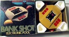 1980 Parker Brothers BANK SHOT (Vintage Table-Top Electronic Pool Video Game). Mint in box with styro insert and instructions.  $44.95 shipped.