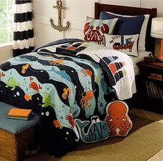 Toddler Bedding Cotton 2pc Twin Quilt Set Reversible Nautical Sailboat Ship Sea Creatures Boys Bedding Quilted Bedspread Max Studio Kids http://smile.amazon.com/dp/B010MC07ZS/ref=cm_sw_r_pi_dp_XrJ2vb15JQWPZ