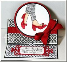 I Feel Like A Heel! created by Frances Byrne using Sizzix Circle Stand Ups Card Die ... all stamps by Stampendous