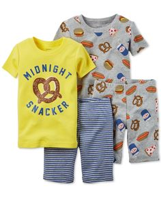 No crumbs in the bed with Carter's and this deliciously delightful four-piece pajama set, featuring fun snack foods screen-printed on top of soft and snuggly cotton.   Cotton   Machine washable   Impo